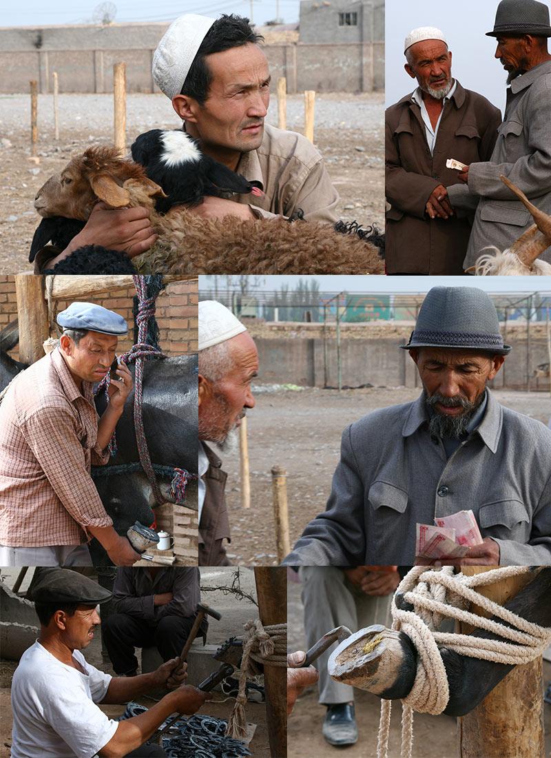 Veemarkt Kashgar Zijderoute in China
