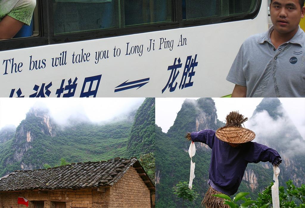 Met de bus van de karstbergen naar de rijstterrassen