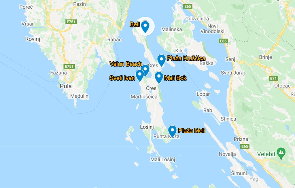 kaart mooiste stranden op Cres Kroatië