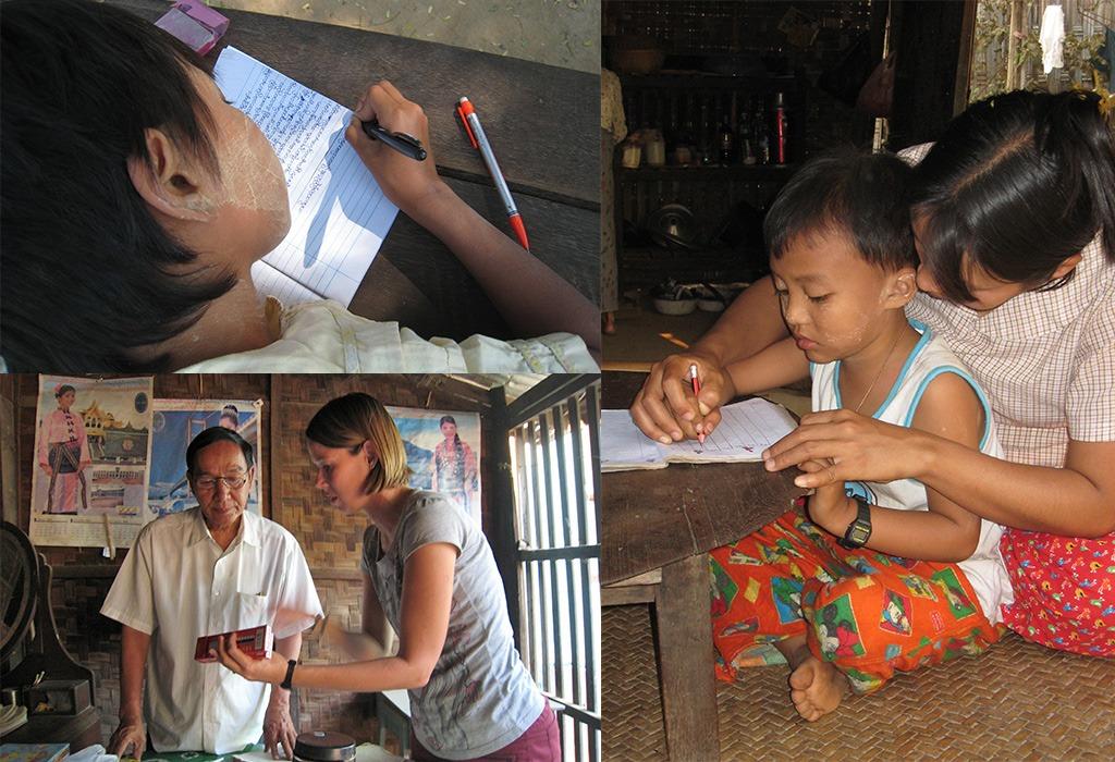 leerlingen profiteren van onderwijs in-Bagan