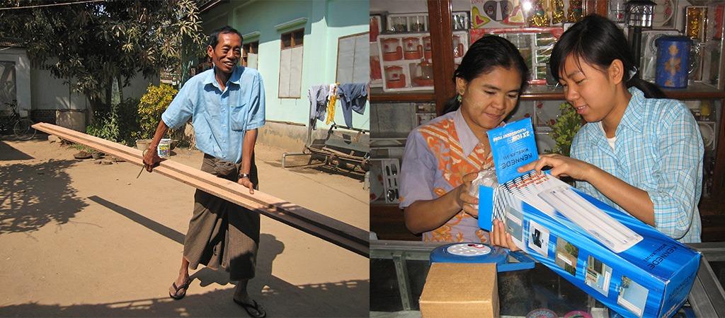 schoolbankjes en licht voor schooltje Bagan