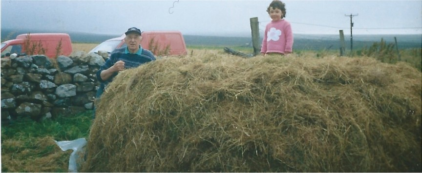 an elderly crofter works the hay