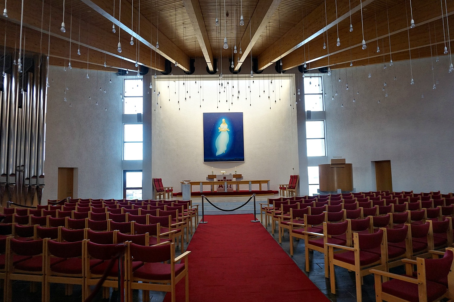 10 top reasons to visit Iceland. Simple but moving interior of a modern church in town of Stikkisholmur.