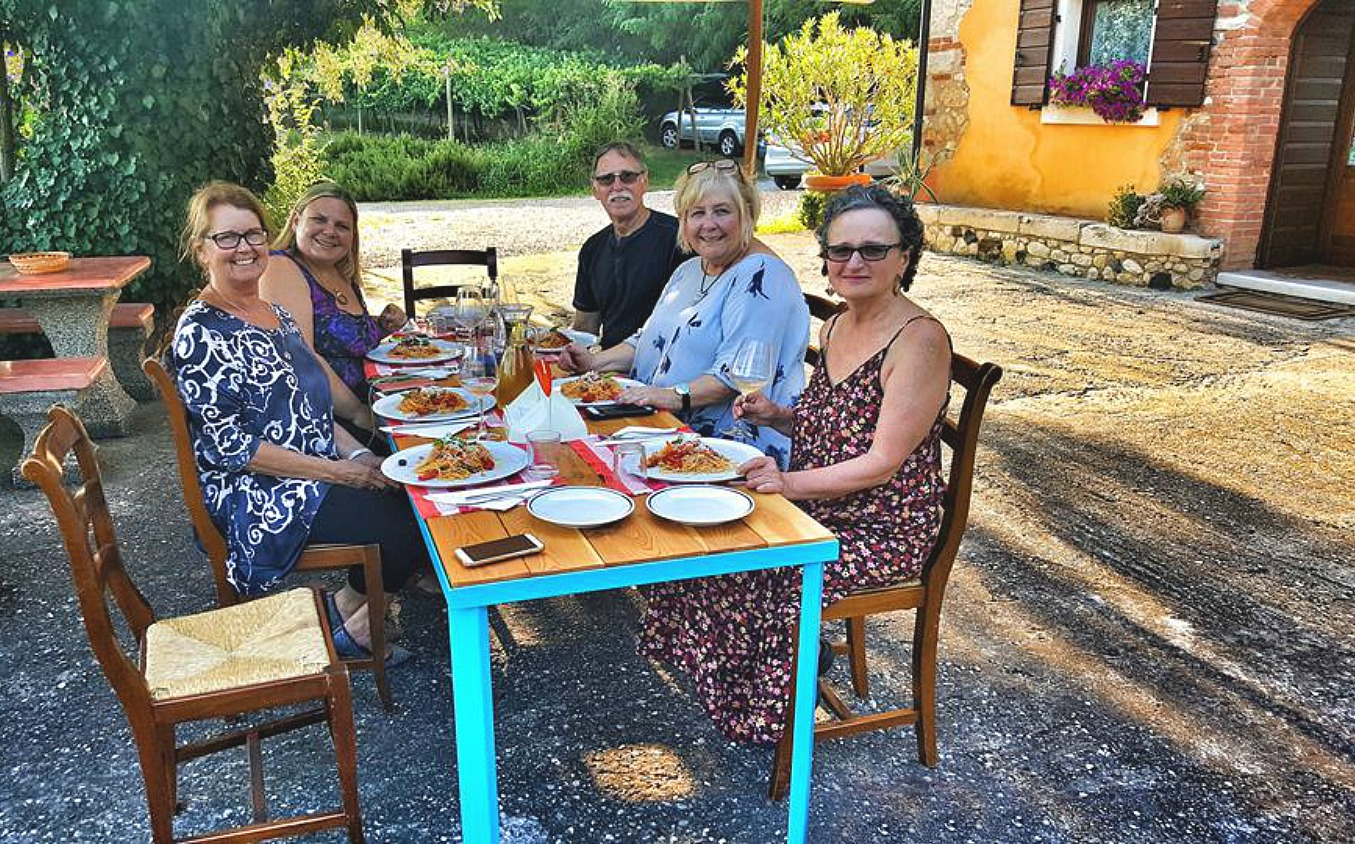 Living and traveling with cancer. Soave outdoor dining.