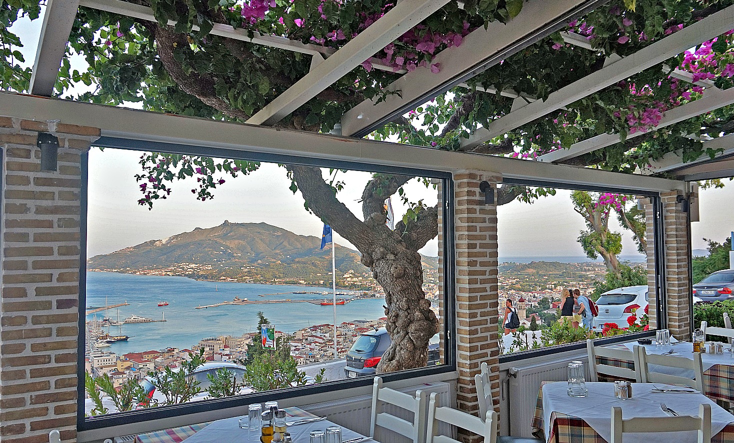 Zakynthos Greece - how to visit. View of Zakynthos from a restaurant.