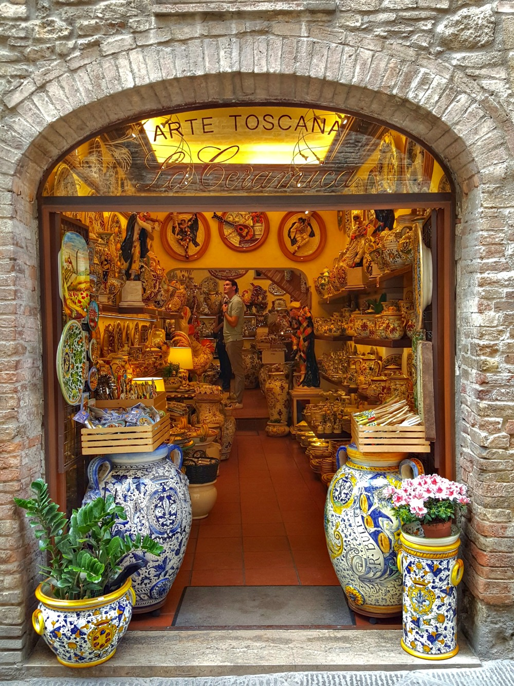 Pottery shop in San Gimignano Tuscany.