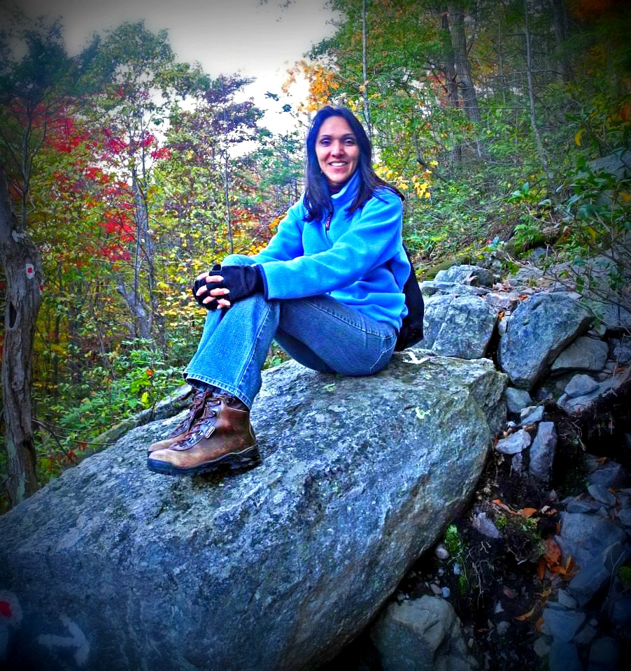 Lady taking a break at Mount Tammany hiking trail.