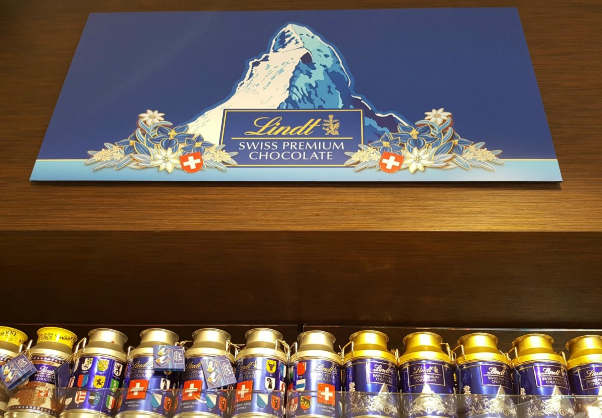Zermatt Switzerland. Lindt chocolate shop with a picture of the Matterhorn.