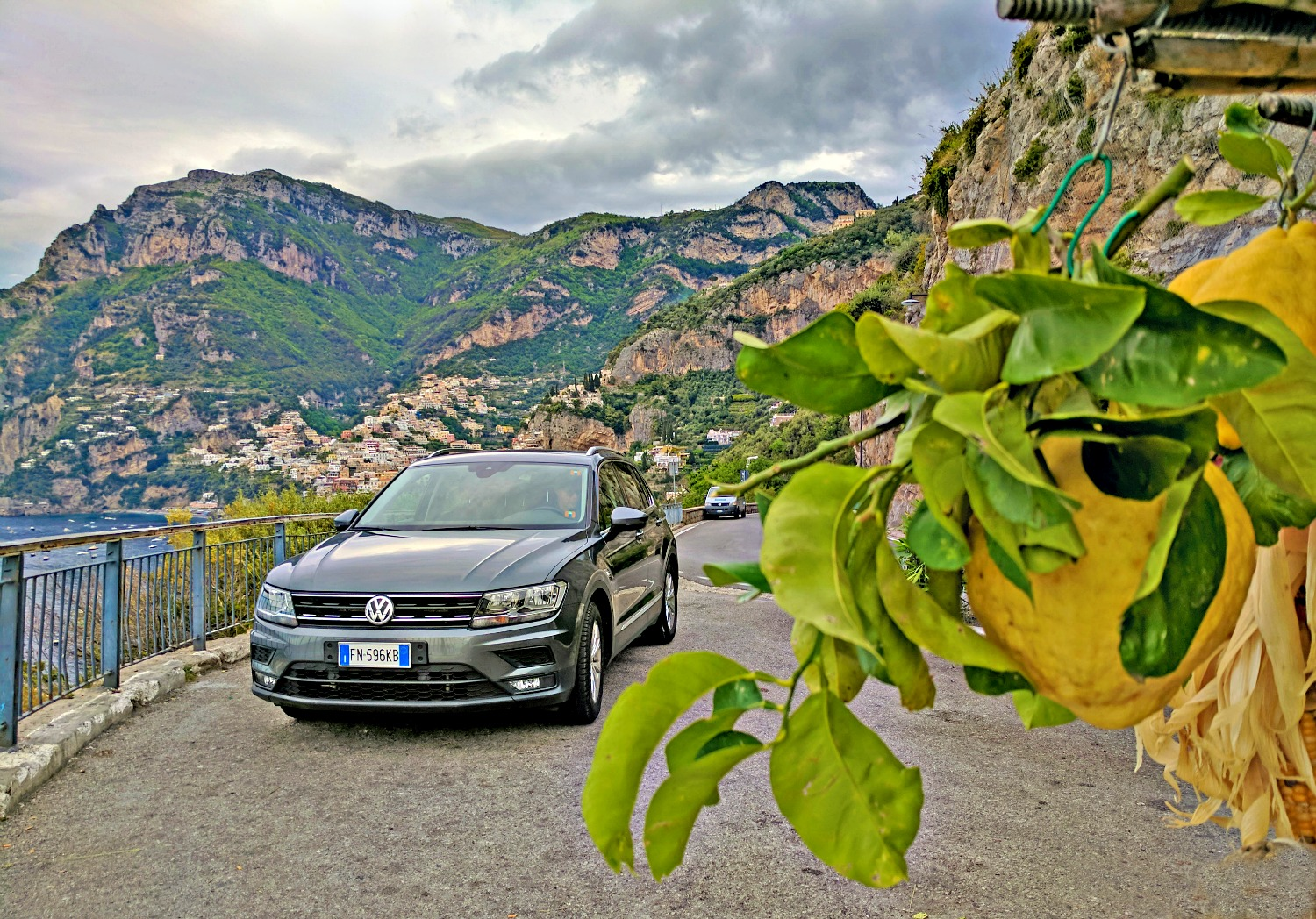 Our rented car along Amalfi Coast.
