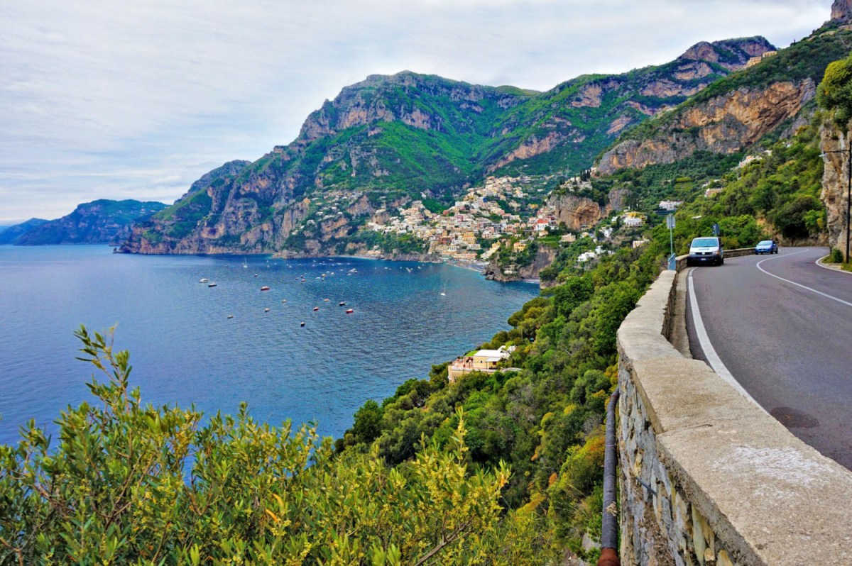 Driving along beautiful Amalfi Coast.