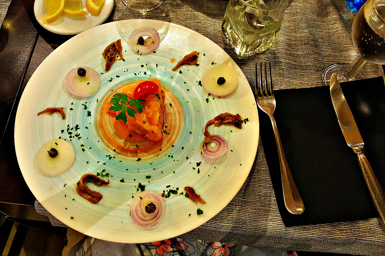 Salmon tartare served in Venice.