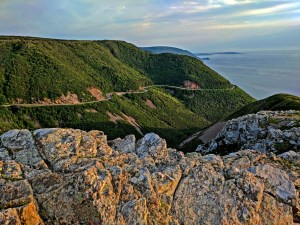 The Cabot Trail in Nova Scotia at sunset.