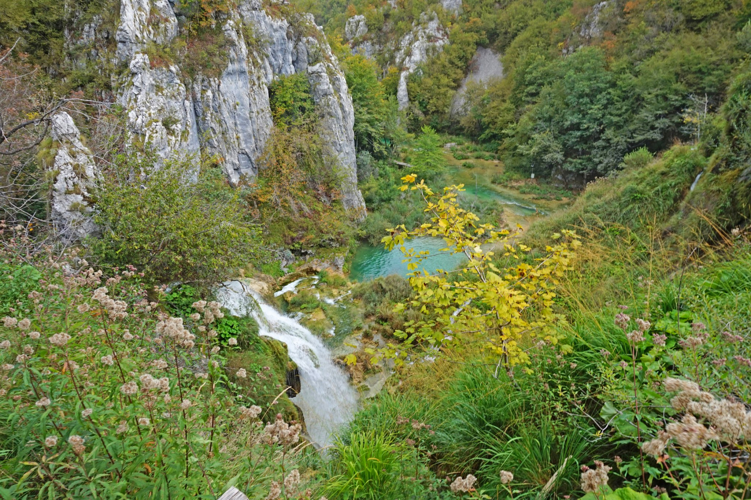 Europe's top natural attraction, Plitvice Lakes, changing into fall colors.