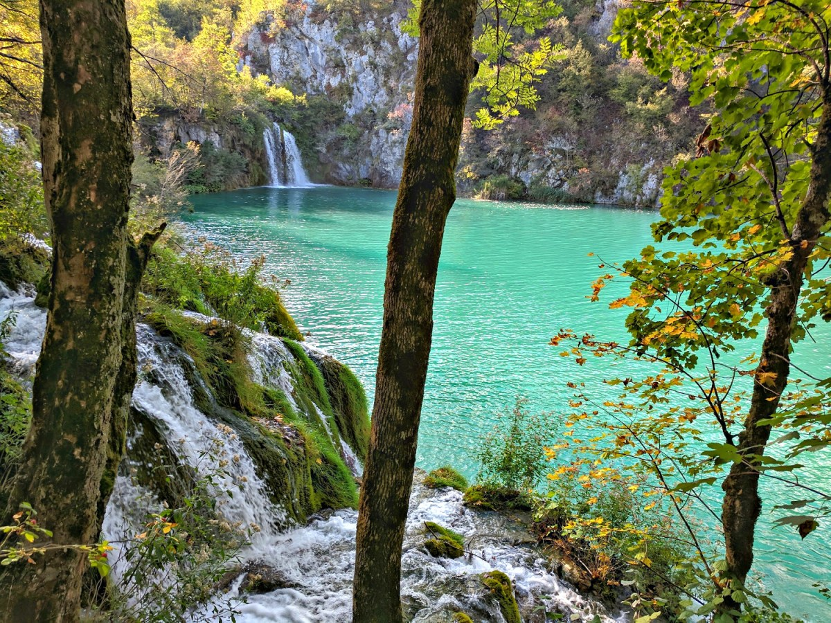 Turquoise lake with one waterfall at Plitvice Lakes.