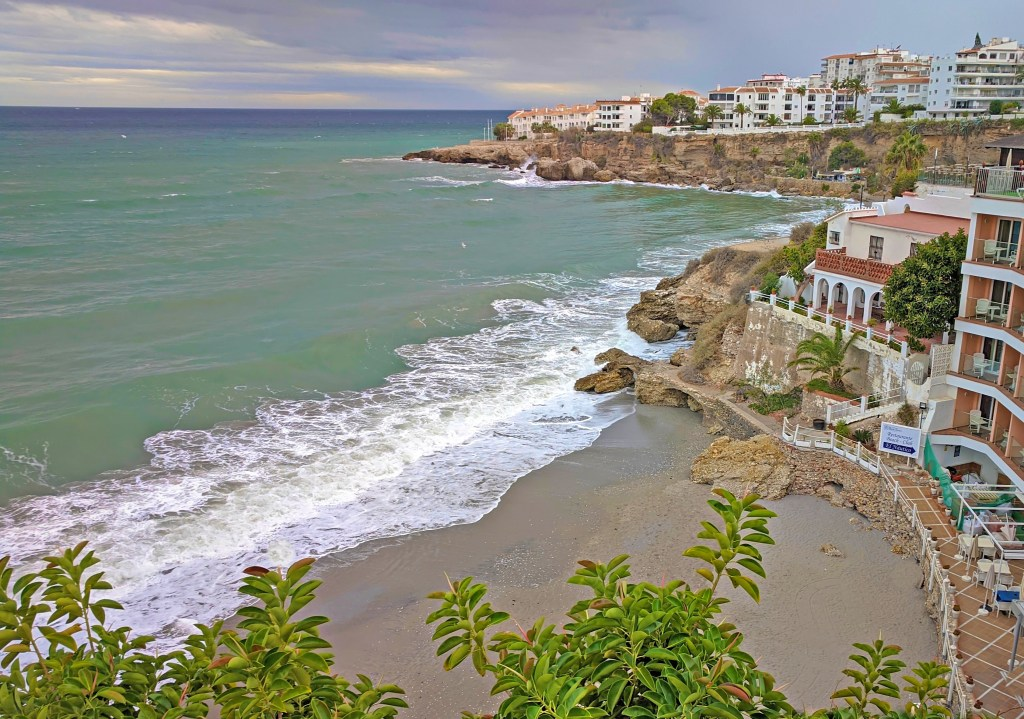 Hotels in Nerja Spain. A row of hotels overlooking the sea.