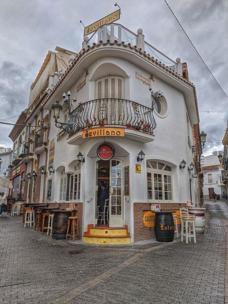 Things to do in Nerja Spain. Charming corner restaurant.