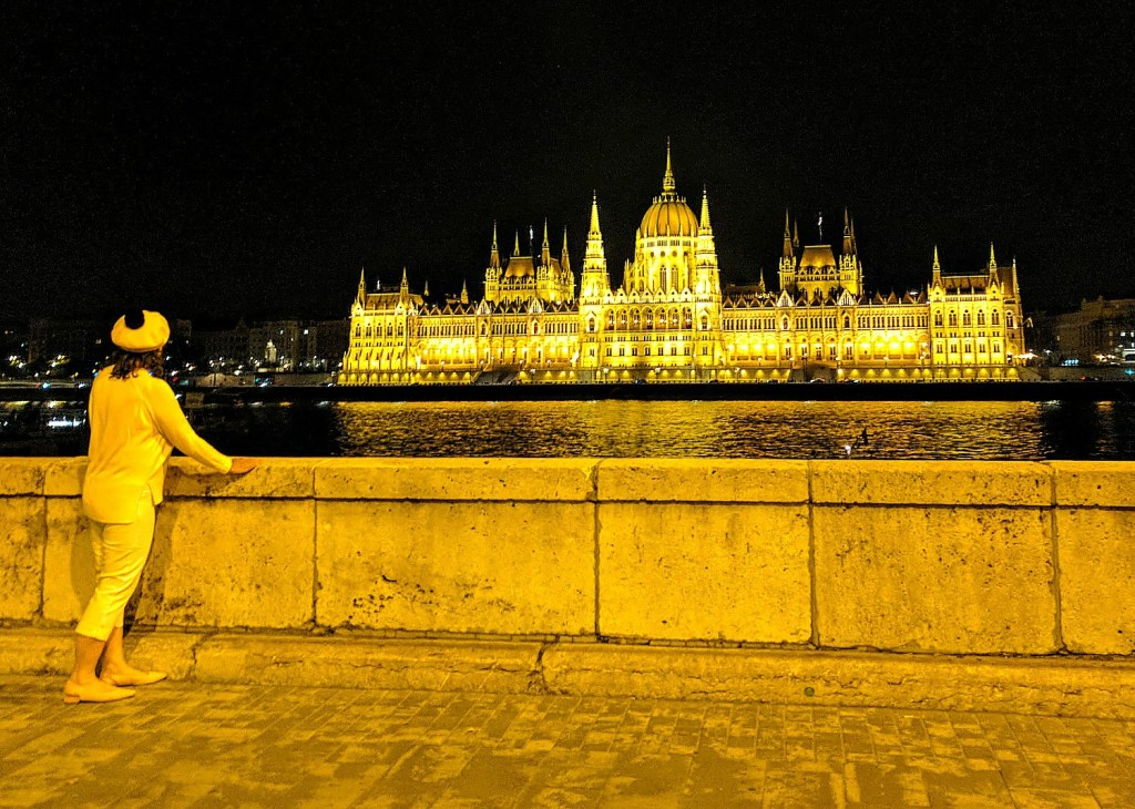 Budapest parliament at night.
