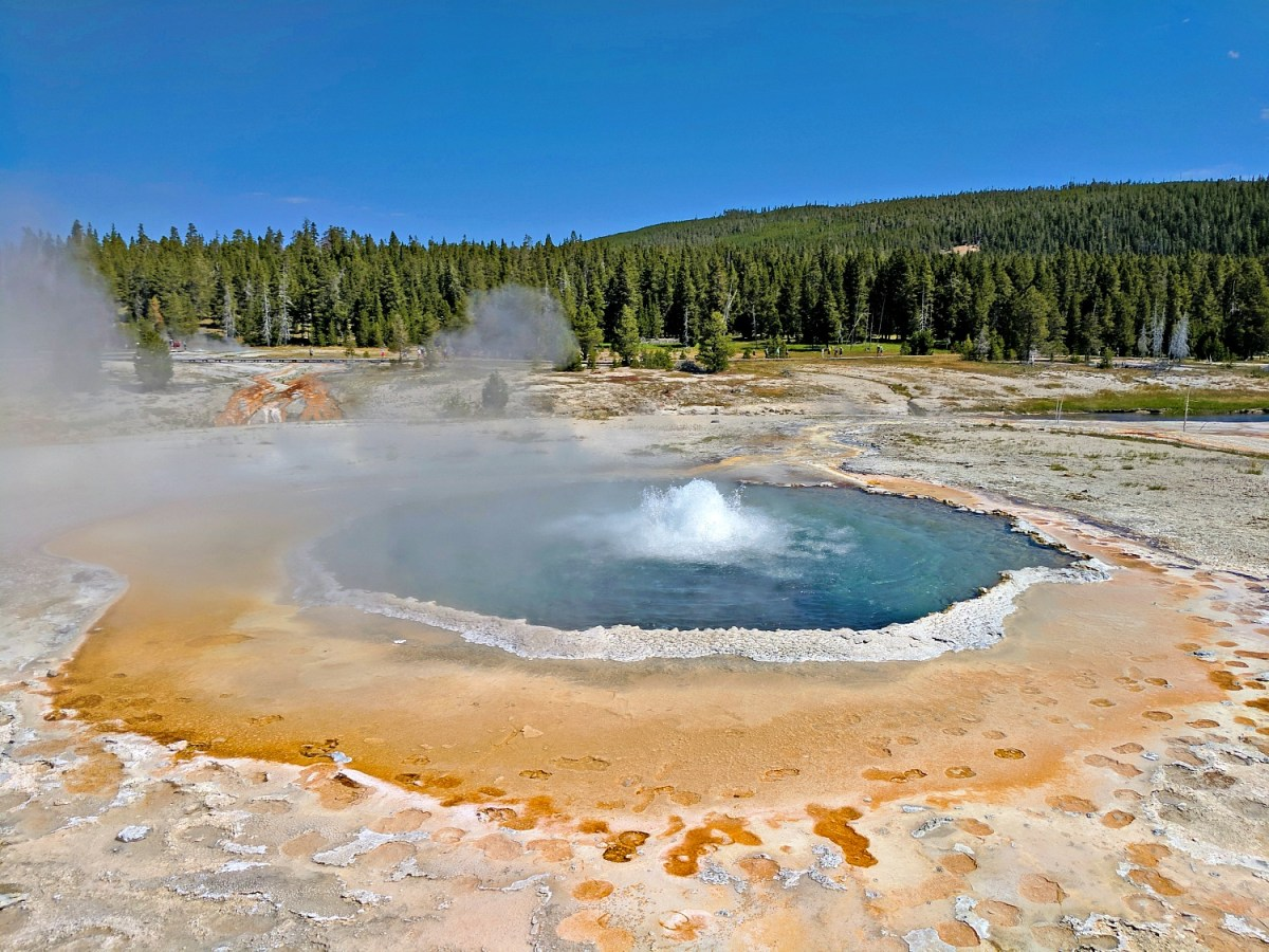 Wyoming. Yellowstone itinerary. The Upper Geyser Basin in is literally boiling.