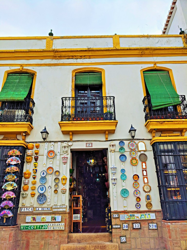 Colorful ceramic souvenirs in Ronda, Spain.
