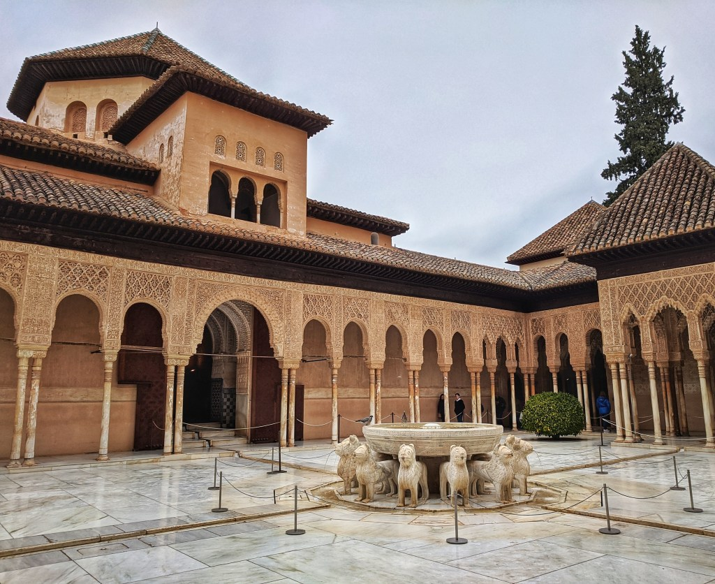 Best of Andalusia. Famous Patio of Lions in Alhambra in Granada, Spain.