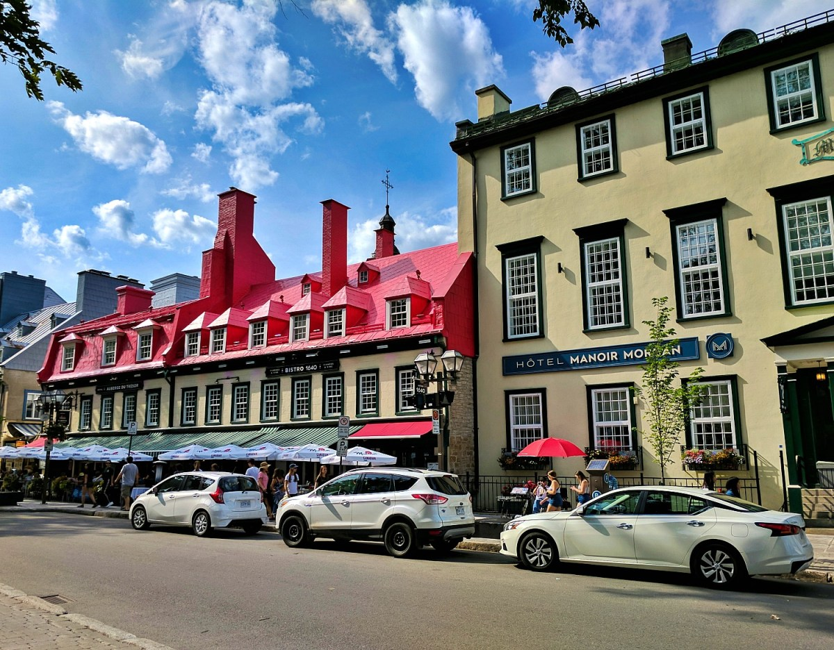 Road trip to the province of Quebec. One of old town streets in Quebec City.