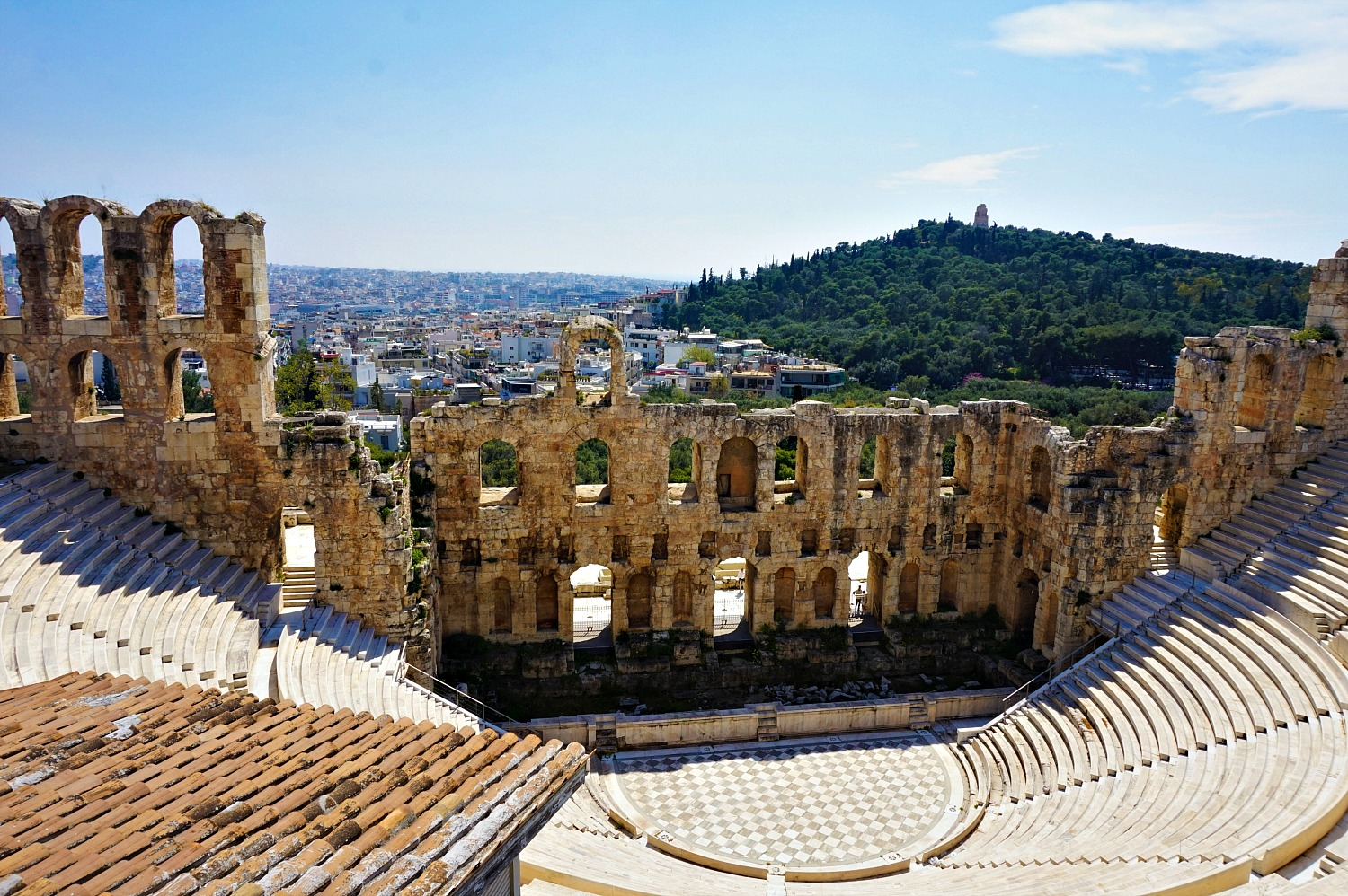 Itinerary for Athens, Greece.The Odeon of Herodes in Athens Greece.