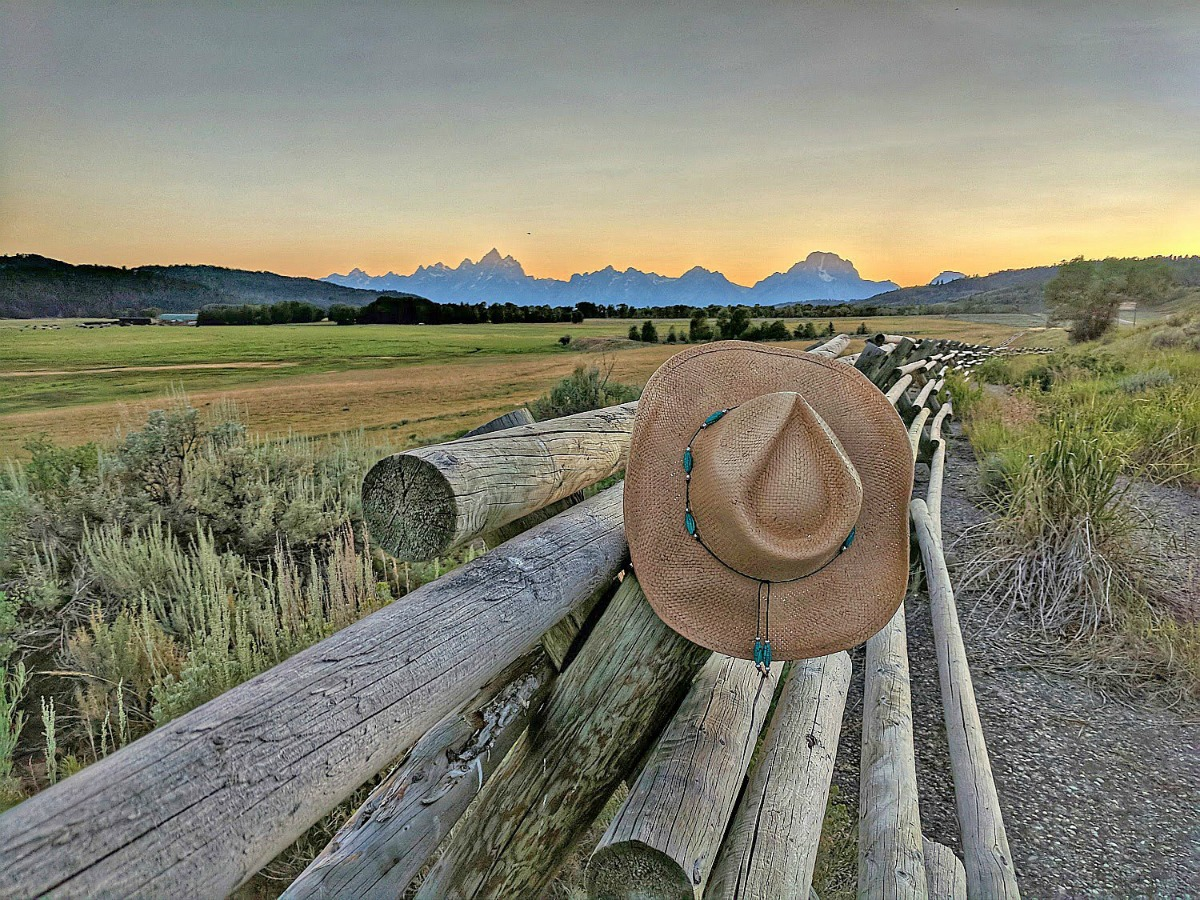 Presenting my brand new hat and the sunset over Grand Teton National Park, Wyoming.