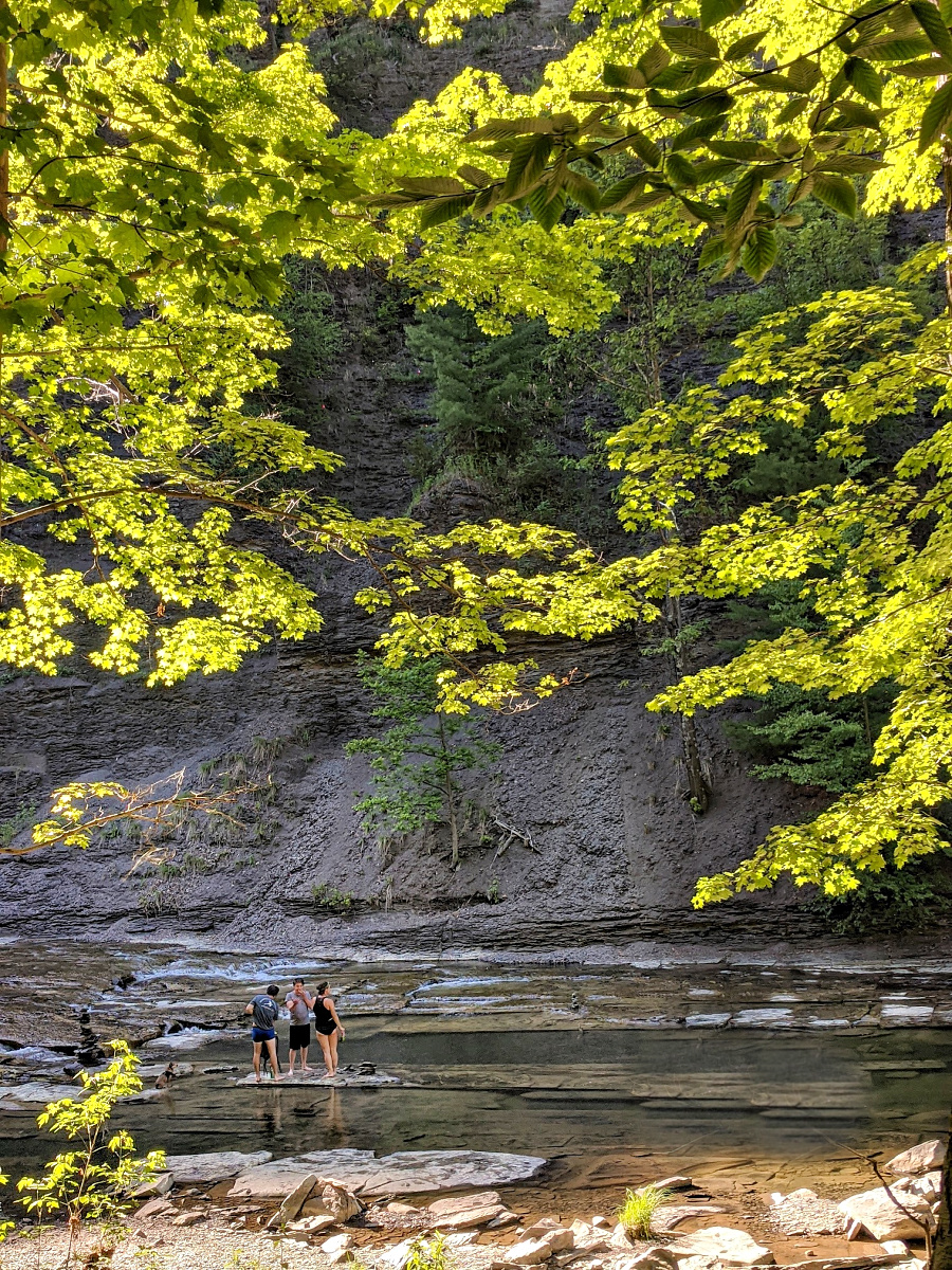 Many visitors prefer walking in the creed over a graveled Gorge Trails to reach Taughannock Falls.