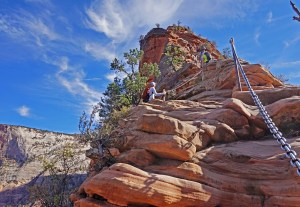 Hiking Angels Landing at Zion National Park.
