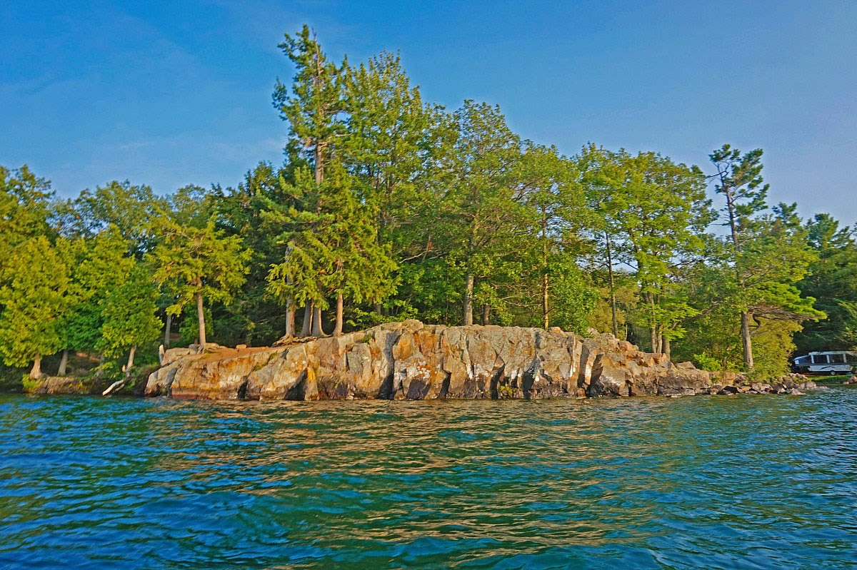 Wellesley Island State Park sits on the rocky shore of Saint Lawrence River.