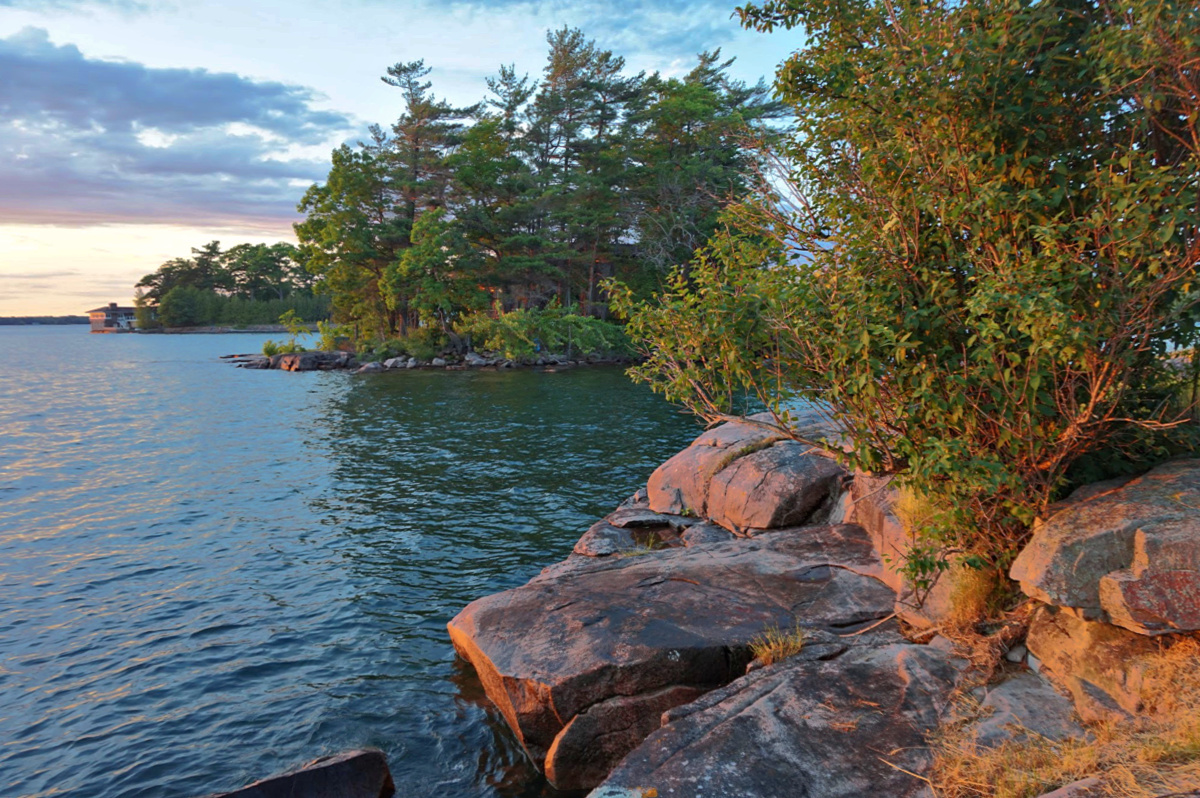 A rocky shore of St. Lawrence River at Kring Point State Park.