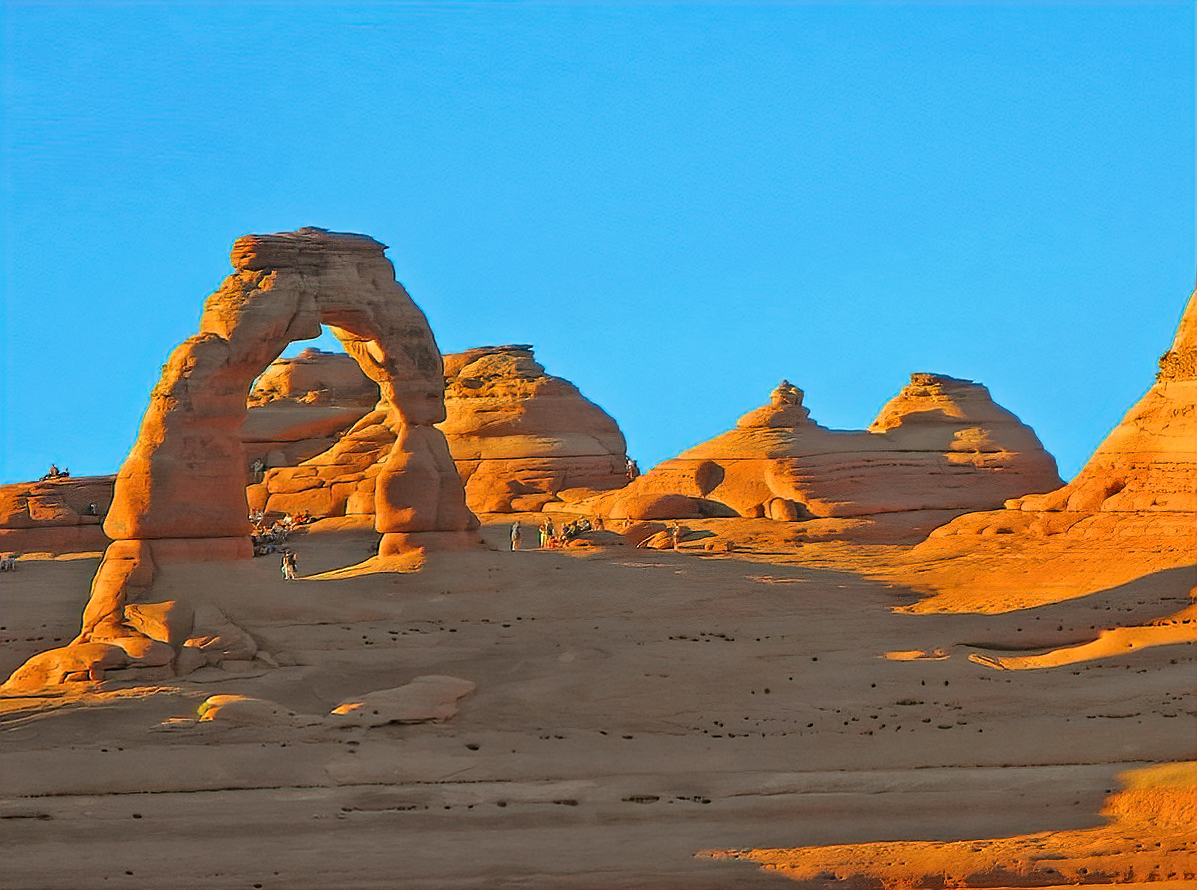Delicate Arch at Arches National Park is the main attraction of the park.