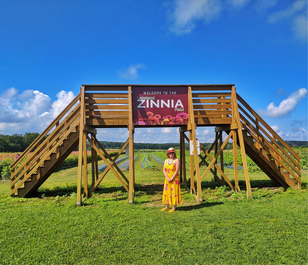 Lakeland Orchard & Cidery. A welcome sign to enter zinnia fields.