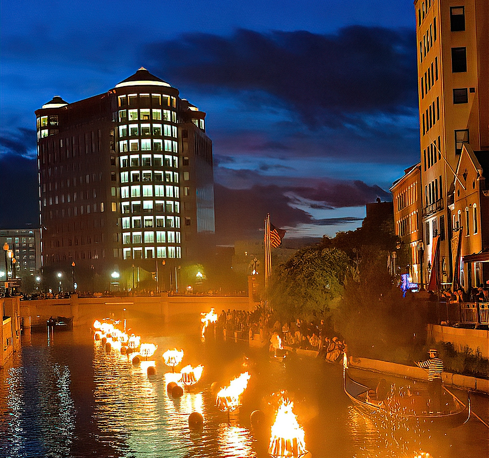 Waterfire tradition in Providence, RI.