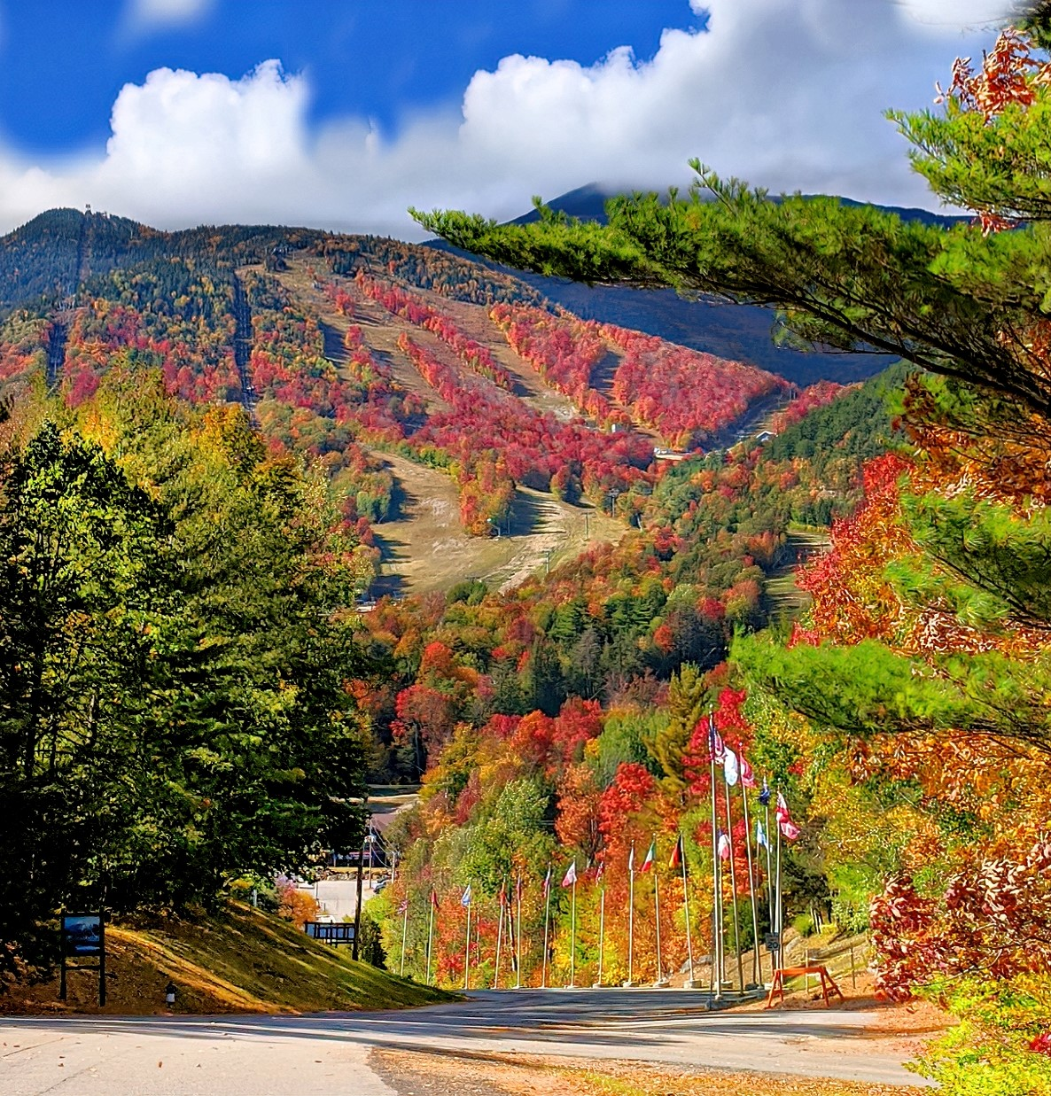 Whiteface Mountain shows off its seasonal red face. Just gorgeous!
