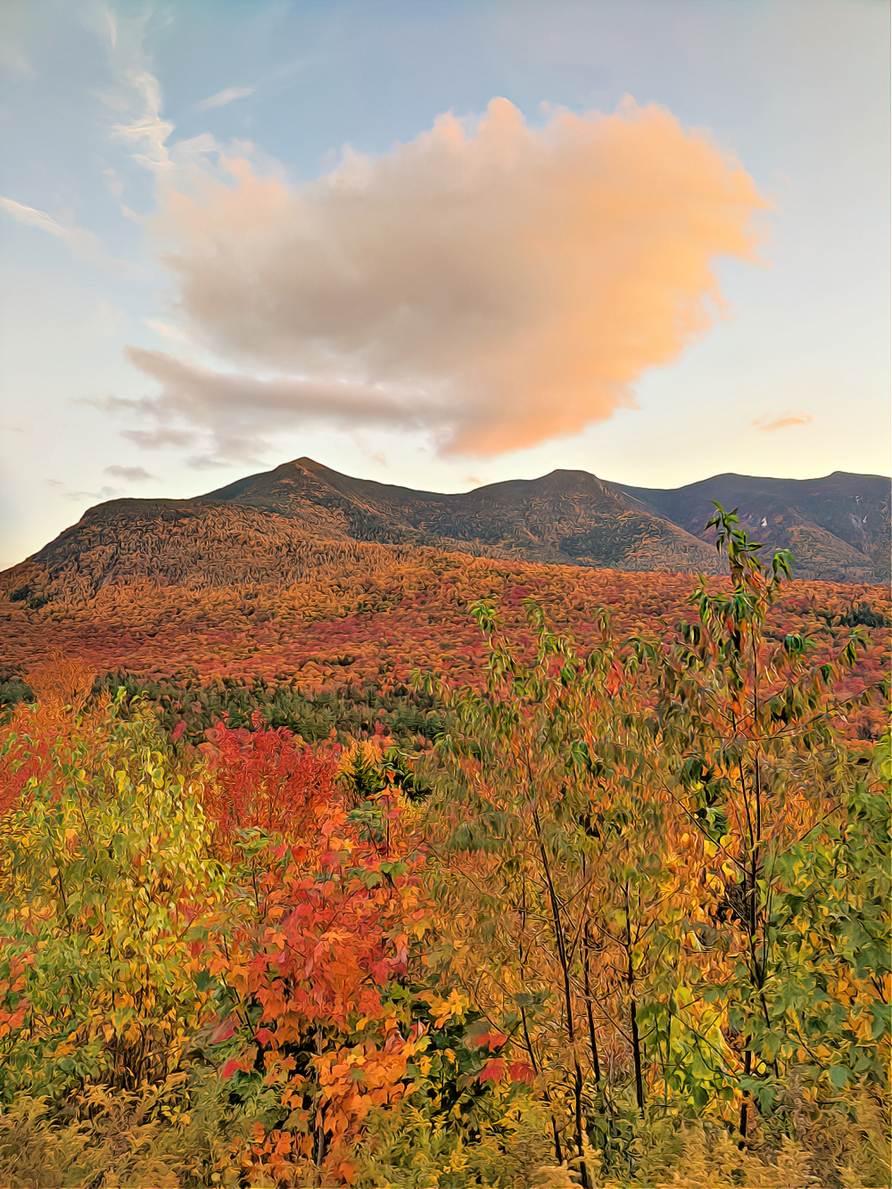 Kancamagus Highway in White Mountains explodes with colors in the fall.