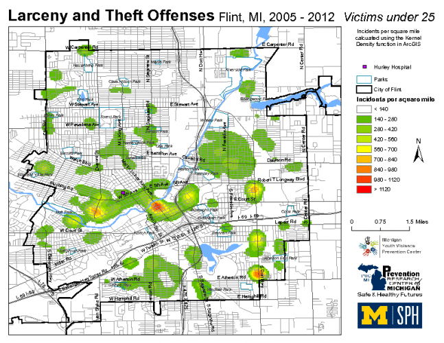 Larceny & Theft Offenses, Victims under 25 (2005-2013)