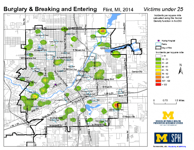Burglary & Breaking and Entering, Victims under 25 (2014)