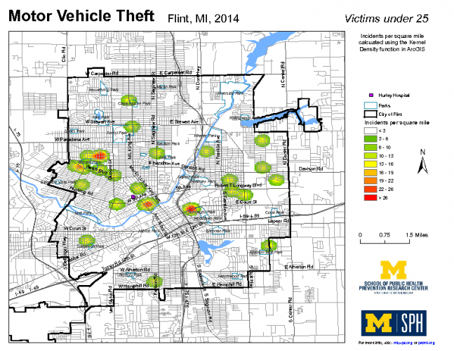 Motor Vehicle Theft, Victims under 25 (2014)