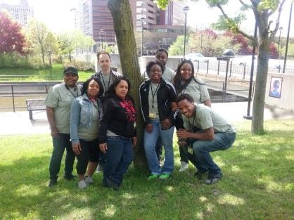 A photo of several team members from Flint, MI, during the 2016 data collection season for MI-YVPC