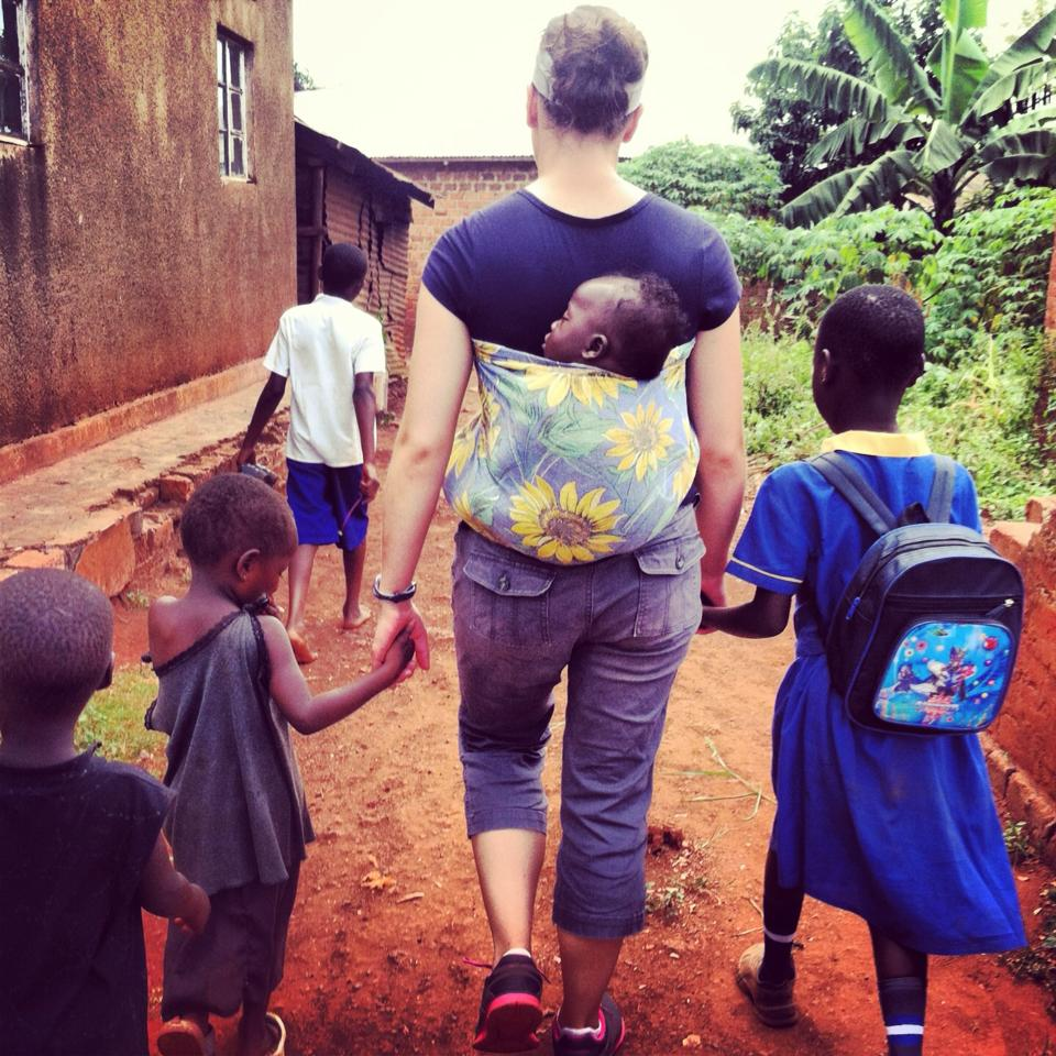 missionary with kids in Uganda