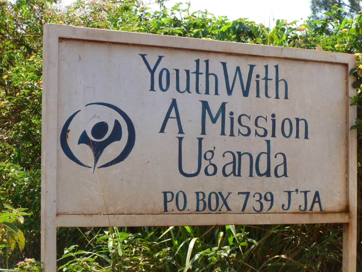 The welcome sign for YWAM Hopeland in Jinja, Uganda.