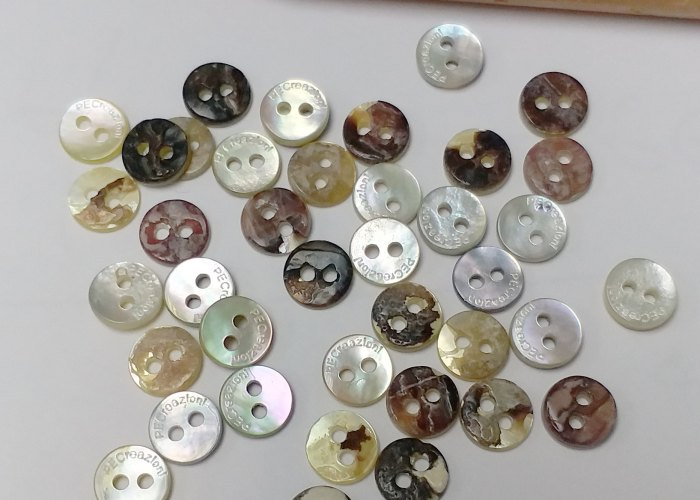 Agoya Shell Buttons with Custom Engraved Logo on Top - 10L (7mm Diameter Buttons)