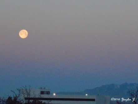 February full-moon sunrise