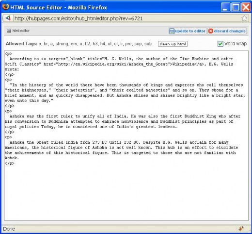 Screenshot of the new html editor