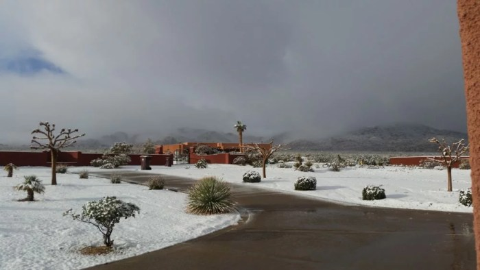 A RARE MORONGO BASIN SNOWFALL CLOSES SCHOOLS, AFFECTS TRAFFIC
