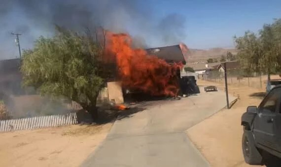GARAGE HEAVILY DAMAGED IN JOSHUA TREE FIRE