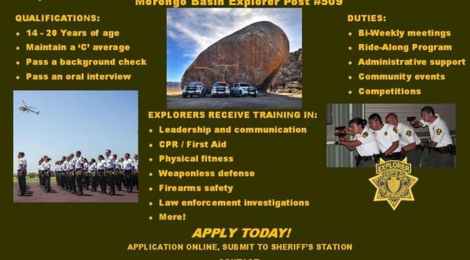 SHERIFF LOOKING FOR EXPLORERS IN THE MORONGO BASIN