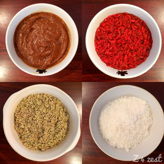 """""""Caramel"""" sauce, soaked goji berries, soaked groats and seeds, coconut"""