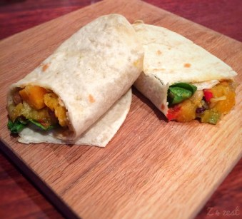 Gluten free coconut tortillas + butternut and bean filling = winning combo!